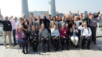 OPTIMISTIC-Team in Rotterdam zusammen mit den Vertretern der Patientenorganisationen (Deutschland: Diagnosegruppe Myotone Dystrophie der DGM, England: Muscular Dystrophy und Myotonic Support Group, Niederlande: Dutch Organisation Neuromuscular Disorder und Canada: Marigold Foundation)